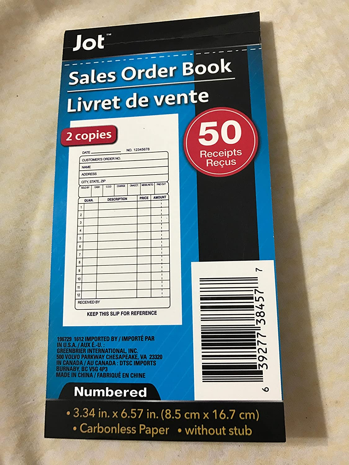 Amazon com : sales order book receipts : Office Products