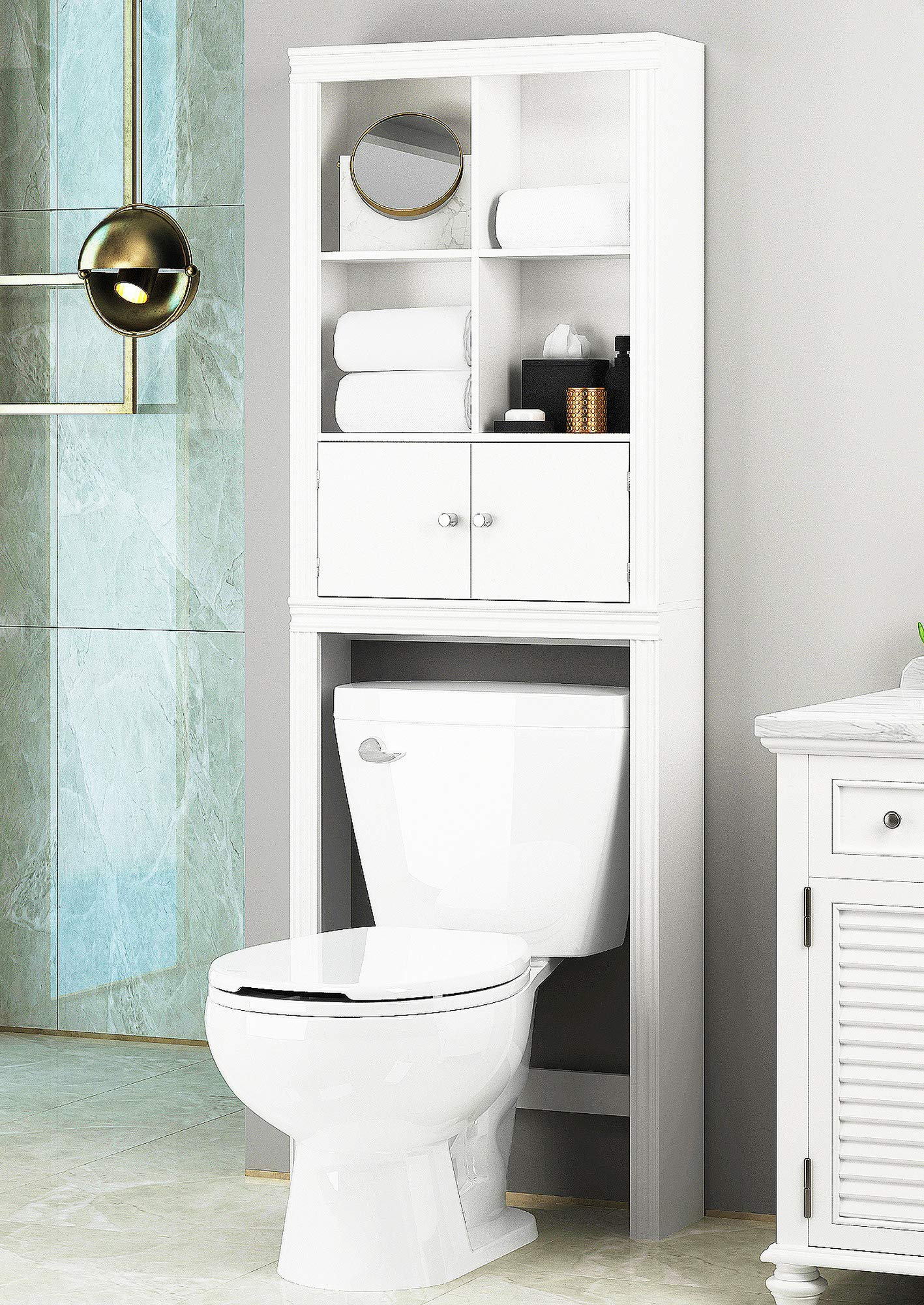 Spirich Home Bathroom Shelf Over The Toilet, Bathroom Cabinet Organizer Over Toilet, Space Saver Cabinet Storage, White Finish