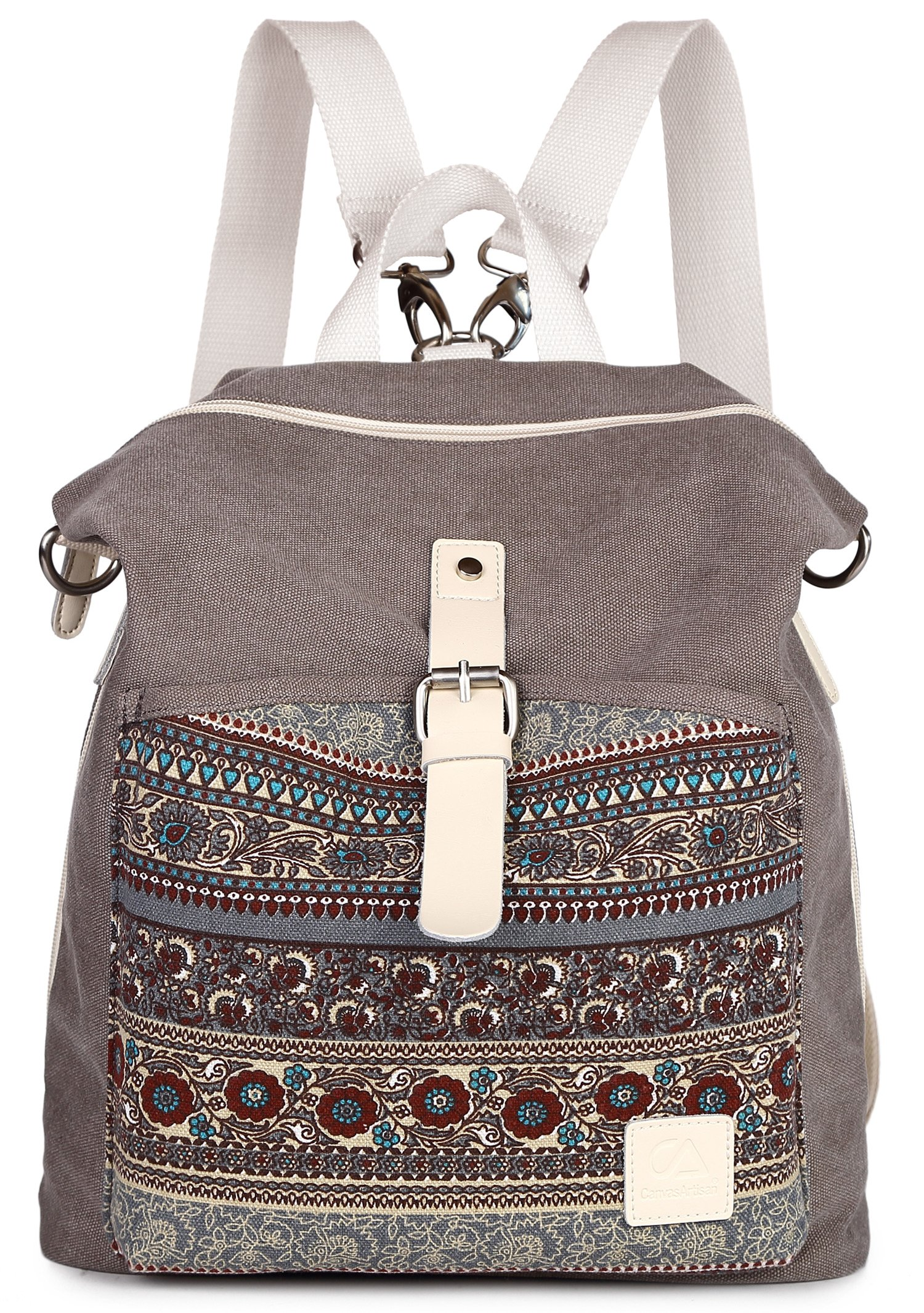 ArcEnCiel Women Girl Backpack Canvas Rucksack Shoulder Bag (Gray) by ArcEnCiel