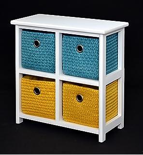 Table de Chevet en blanc avec 4 paniers en rotin à Orange Vert Bleu ...