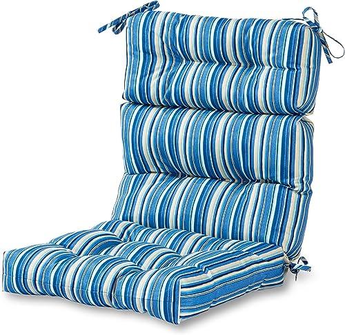 Greendale Home Fashions AZ4809-SAPPHIRE Steel Blue Stripe 44'' x 22'' Outdoor Seat/Back Chair Cushion