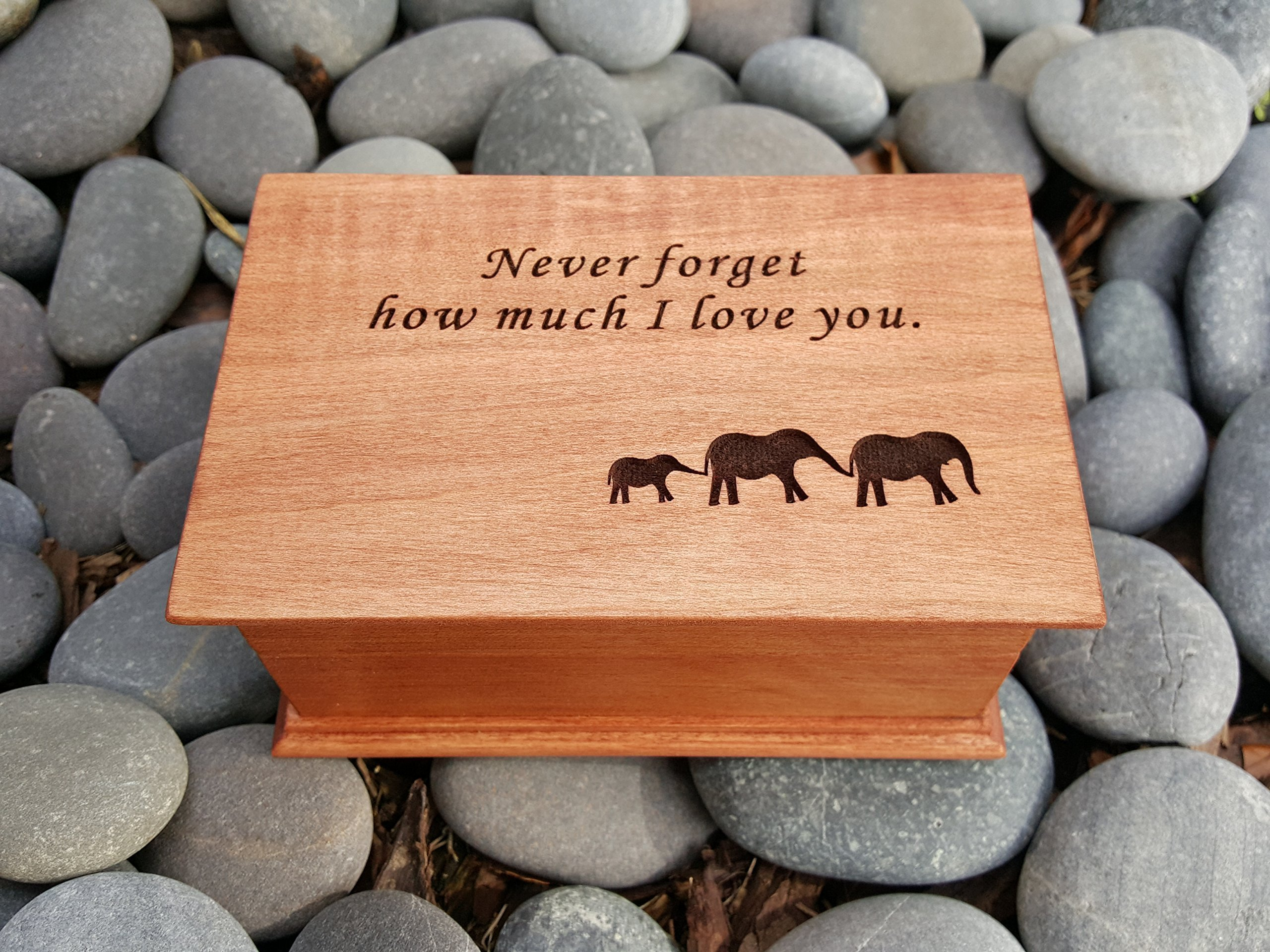 jewelry box, music box, custom made music box, Never forget how much I love you, elephants, elephant family, handmade jewelry box, anniversary gift, simplycoolgifts by Simplycoolgifts