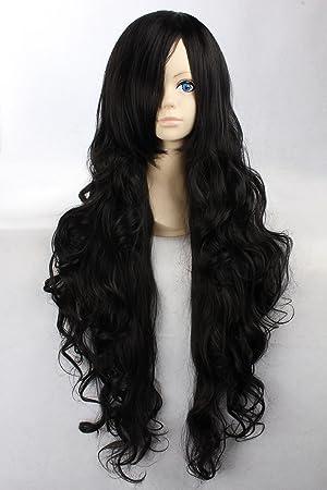 Eday Cosplay peluca Negro peluca extra larga Negro peluca rizada Alvida Pelucas UNA PIEZA: Amazon.es: Juguetes y juegos