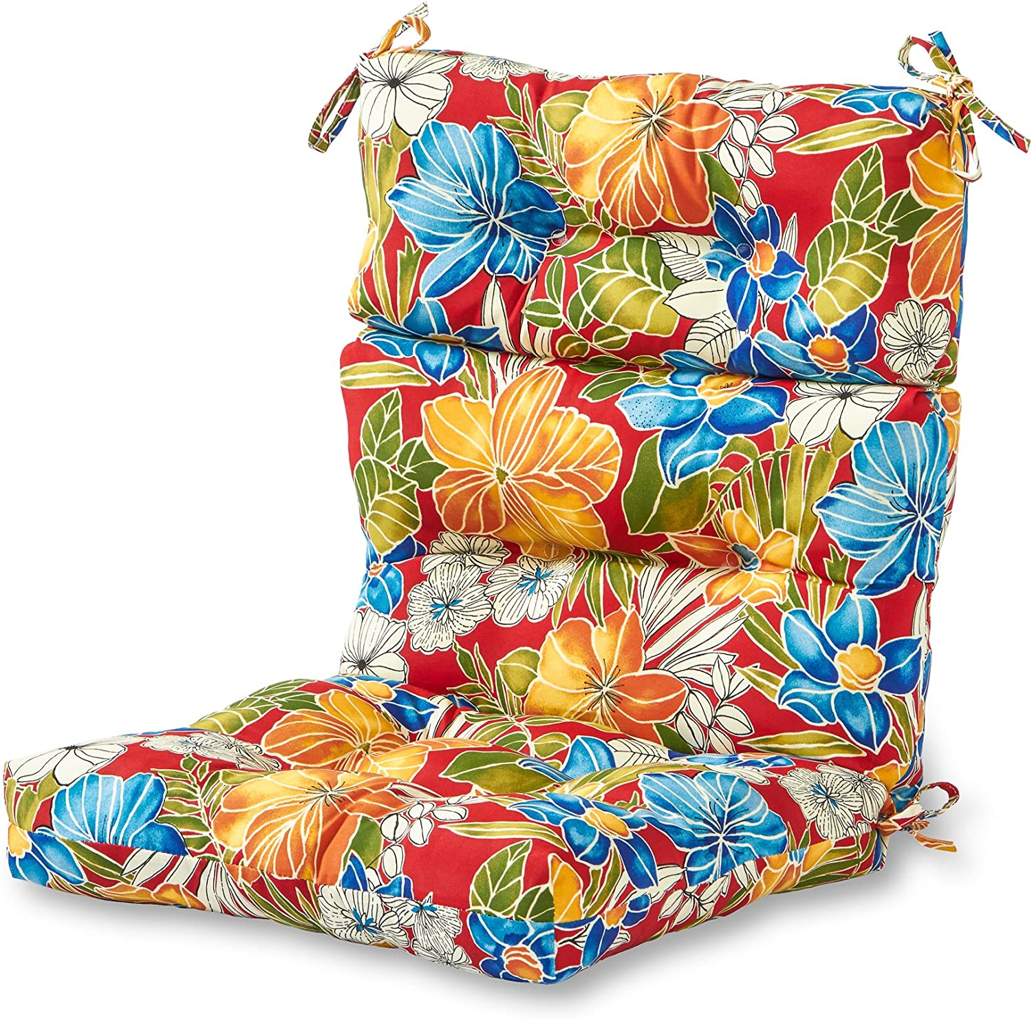 Greendale Home Fashions Indoor Outdoor High Back Chair Cushion, Aloha Red