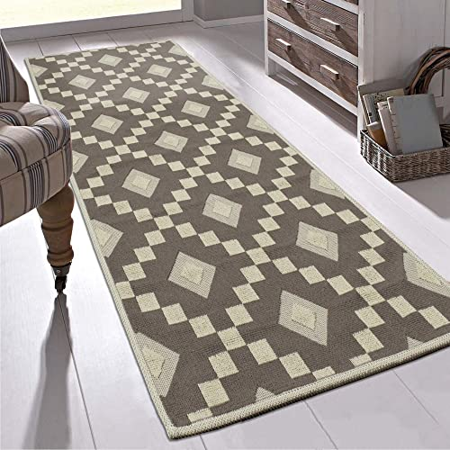 Ottomanson Nature Cotton Kilim Collection Brown Diamond Trellis Design 20″ X 59″ Runner Area Rug,