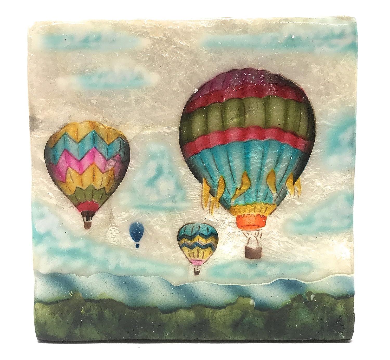 Kubla Craft Hot Air Balloons Capiz Shell Keepsake Box 4 Inches Square