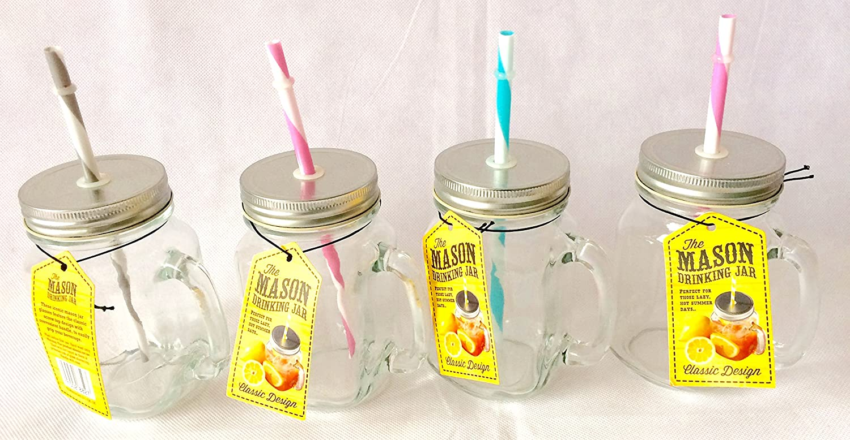 mason mason glass drinking jars with lid u0026 handle set of 4 amazoncouk kitchen u0026 home - Mason Jar Drinking Glasses