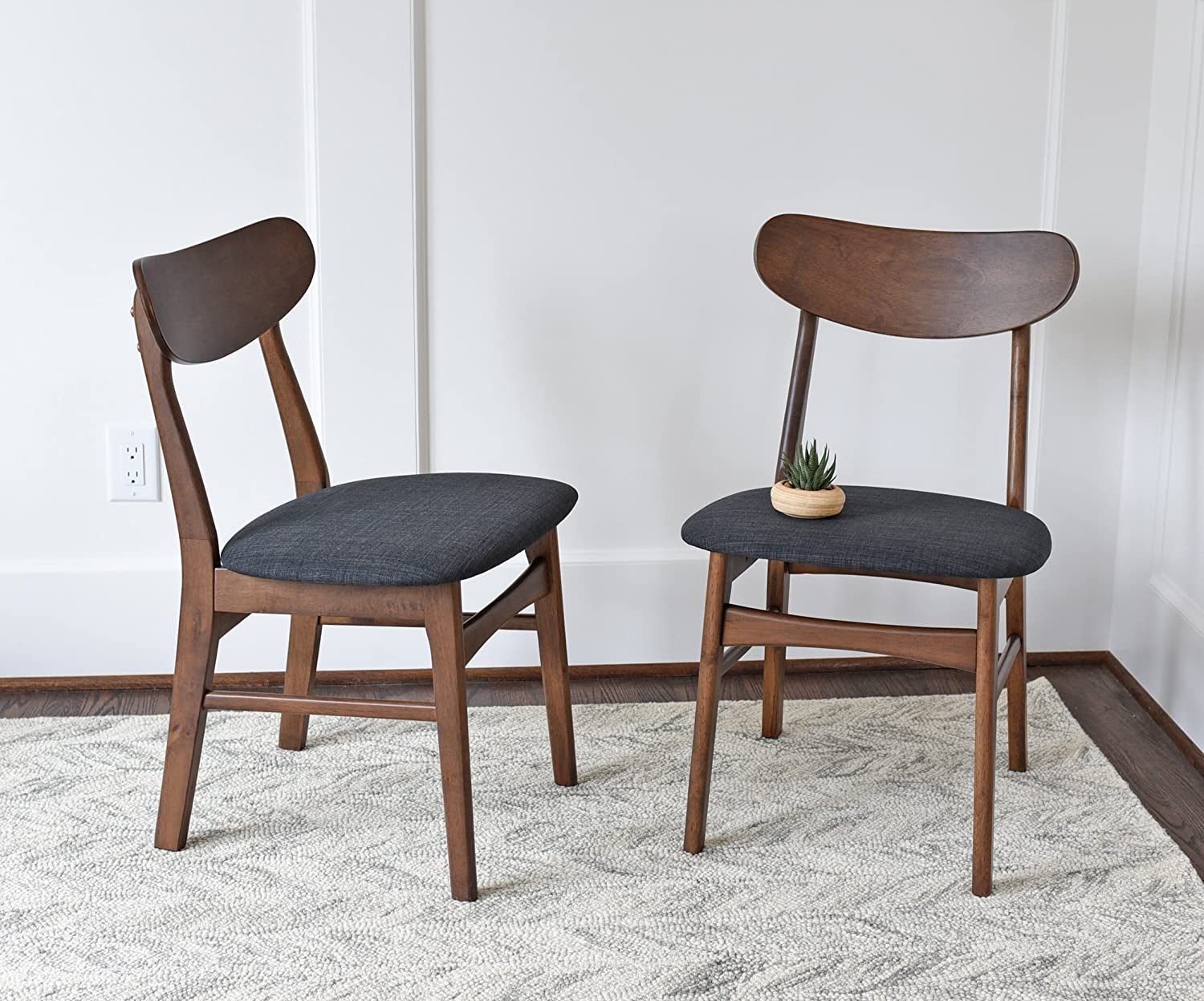 Amazon com mid century modern dining chairs set of 2 by edloe finch upholstered dark grey fabric kitchen dining