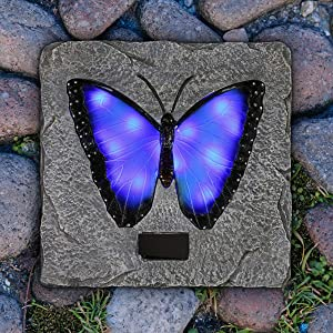 Exhart Solar Blue Butterfly Stepping Stone, 10 Inch