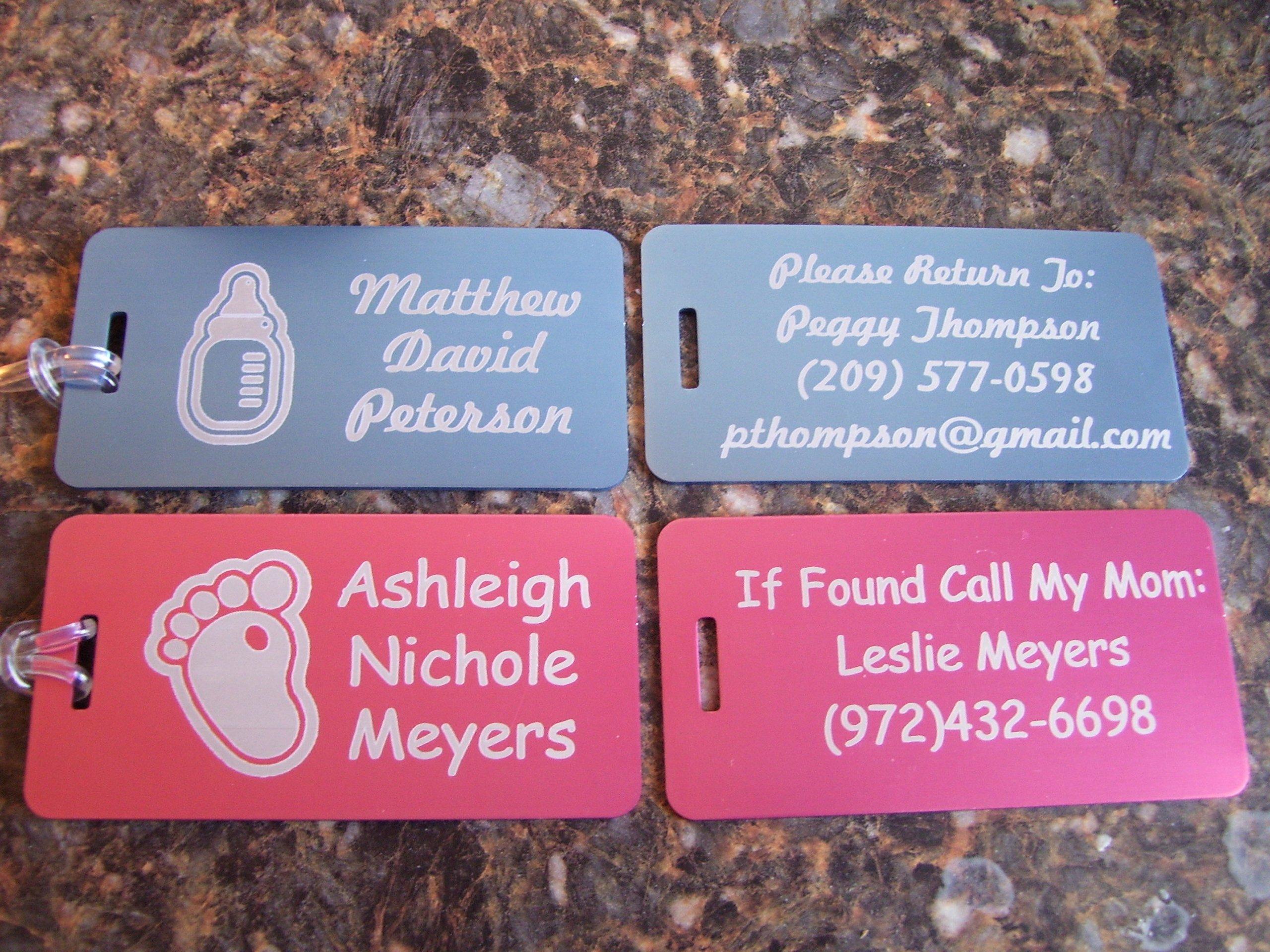Custom Baby Diaper Bag & Stroller ID Tag Luggage FREE Laser Engraving Tag Set (2)