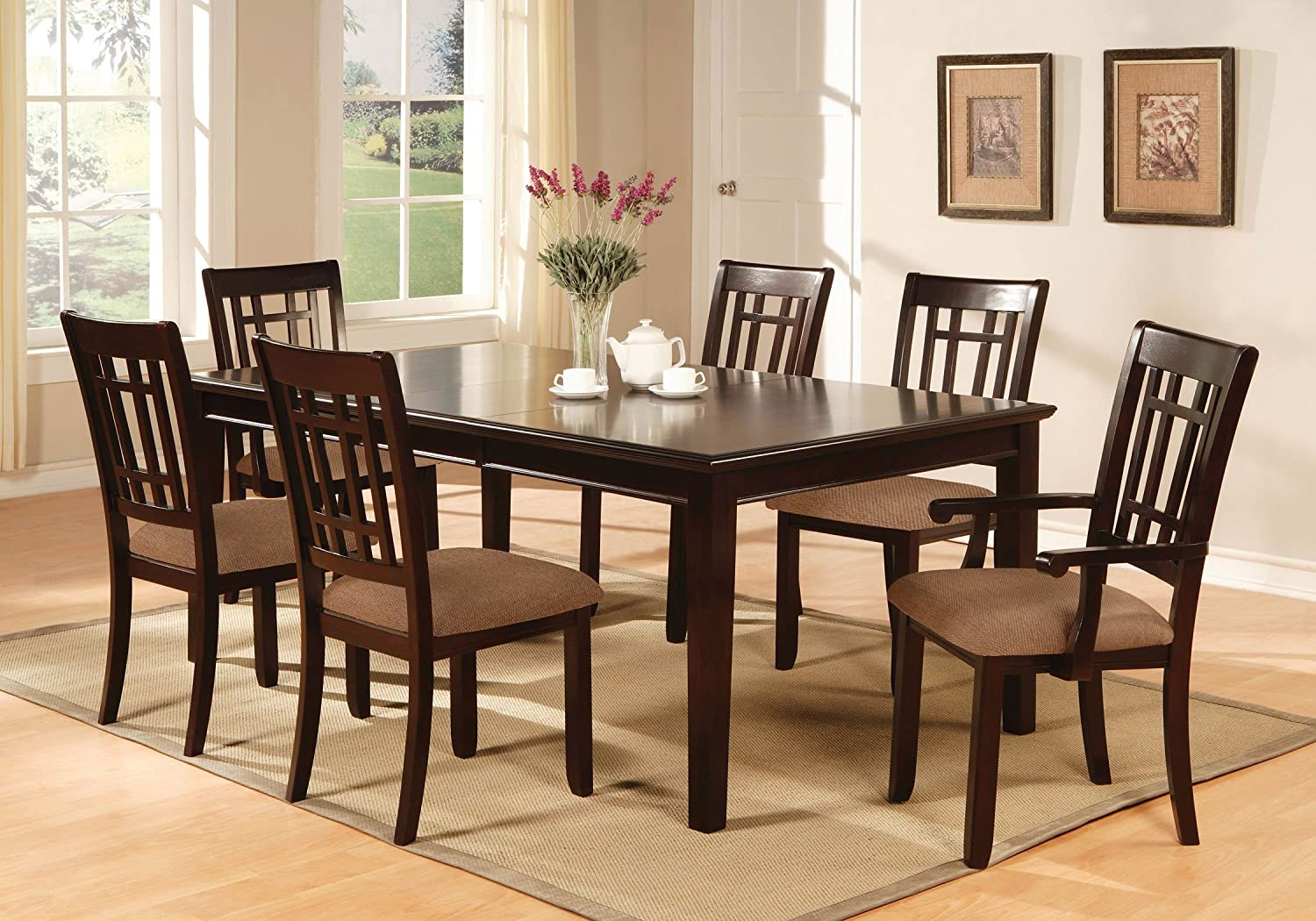 Round Wood Kitchen Table Sets Amazon furniture of america madison 7 piece dining table set amazon furniture of america madison 7 piece dining table set with 18 inch leaf dark cherry finish table chair sets workwithnaturefo