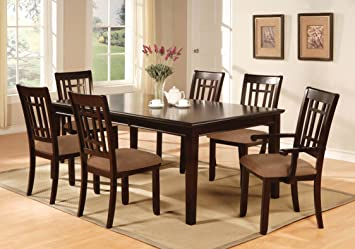 Furniture Of America Madison 7 Piece Dining Table Set With 18 Inch Leaf