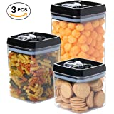 3 pc. Set Large Capacity Clear Food Containers w Black Airtight Lids Canisters for Kitchen and Pantry Storages - Storage for Cereal, Flour, Cooking - BPA-Free Plastic Guru Products