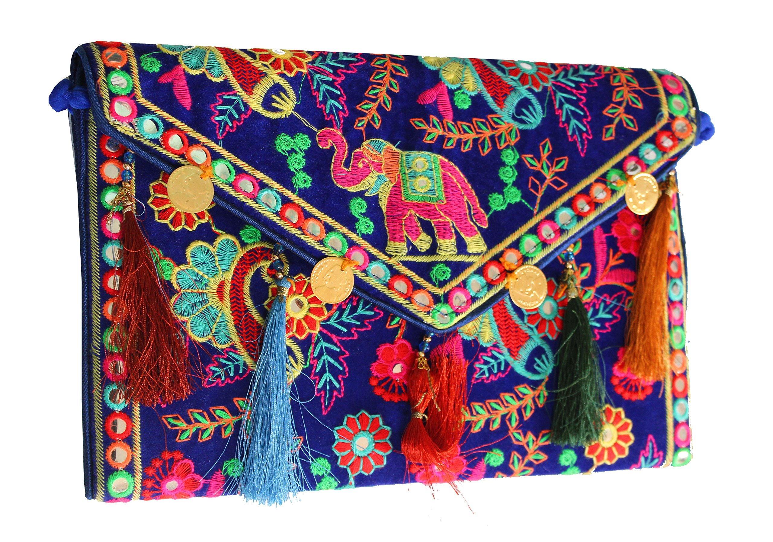 Hippie Handmade Clutch Purse for women Cotton Elephant Embroidery coin work Ethnic Vintage bohemian Tribal Banjara Blue Sling Bags