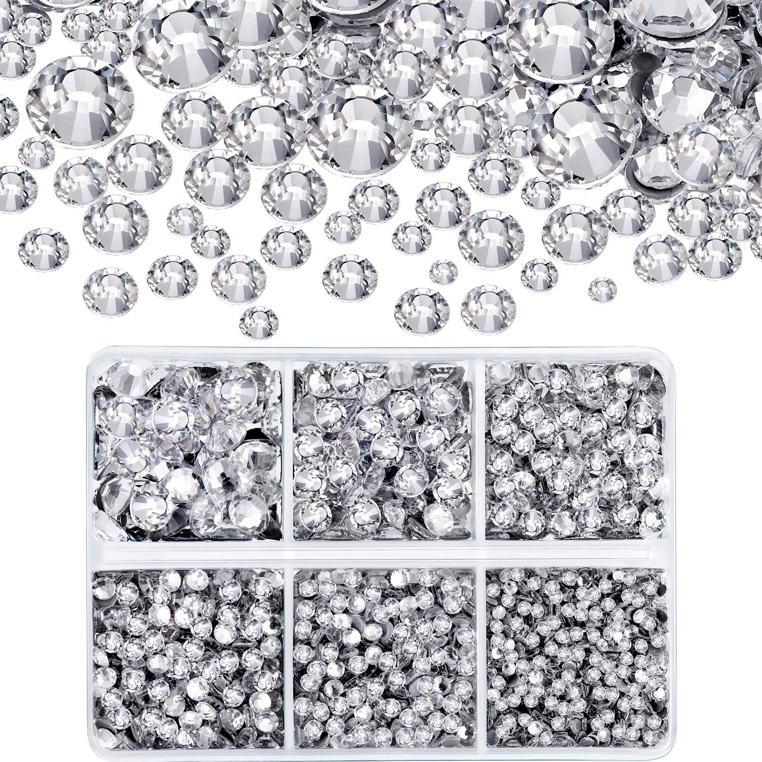 4000 Pieces Mixed Size Hot Fix Round Crystals Gems Glass Stones Hotfix Flat Back Rhinestones (Clear Color) by WILLBOND