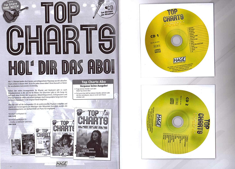 Top Charts Gold 13 - 30 mejores canciones para piano, teclado, guitarra y voz - Songbook con 2 CDs y Bunter herzförmiger - Partituras HAGE Música Verlag ...