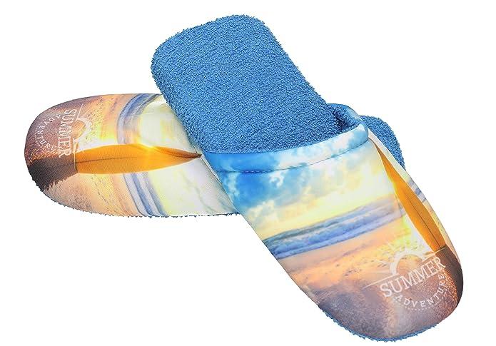 Betz Pantoufles de bain en éponge pour homme chaussons mules PLANCHE À VOILE  couleur bleu taille L (41/44): Amazon.fr: Chaussures et Sacs