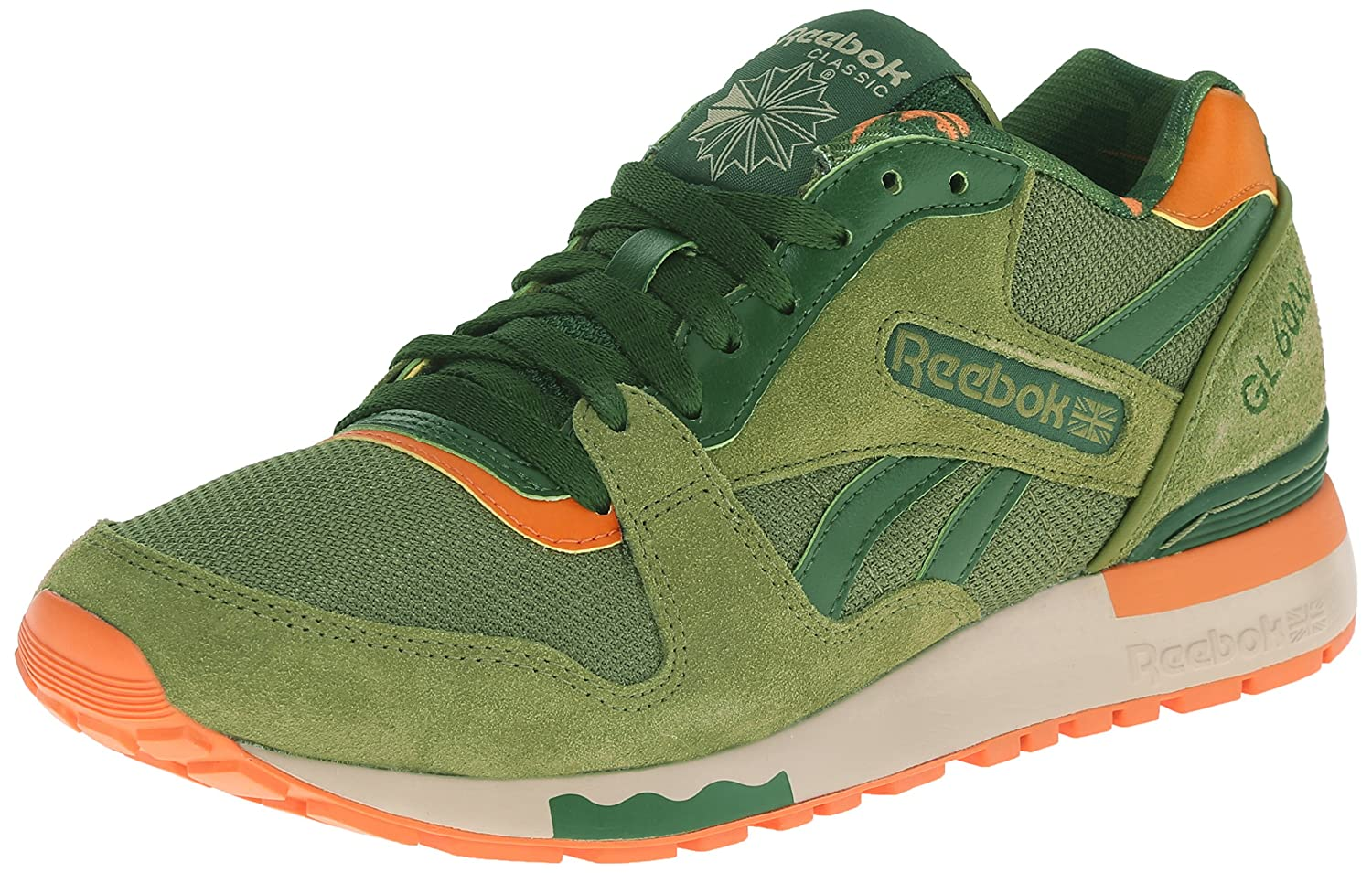 various colors 9f9aa 01200 Reebok Men s GL 6000 Ane Classic Shoe, Warm Olive Scout Green Jaffa  Orange Oatmeal White, 9.5 M US  Buy Online at Low Prices in India -  Amazon.in