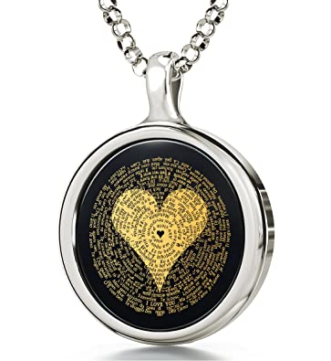062d82951 Nano Jewelry 925 Sterling Silver I Love You Necklace Inscribed in 120  Languages in 24k Gold