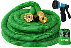 Riemex Expandable Garden Hose Green 25 FT [New 2020] Heavy Duty Water Hose - Triple Latex - Expanding Solid Brass Metal Fittings Connectors, Flexible Strongest 25FT, Green, P802