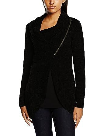Onlnew Hayley L/S Zip Cardigan KNT Noos, Gilet Femme, Noir (Black), 38 (Taille Fabricant: Medium)Only