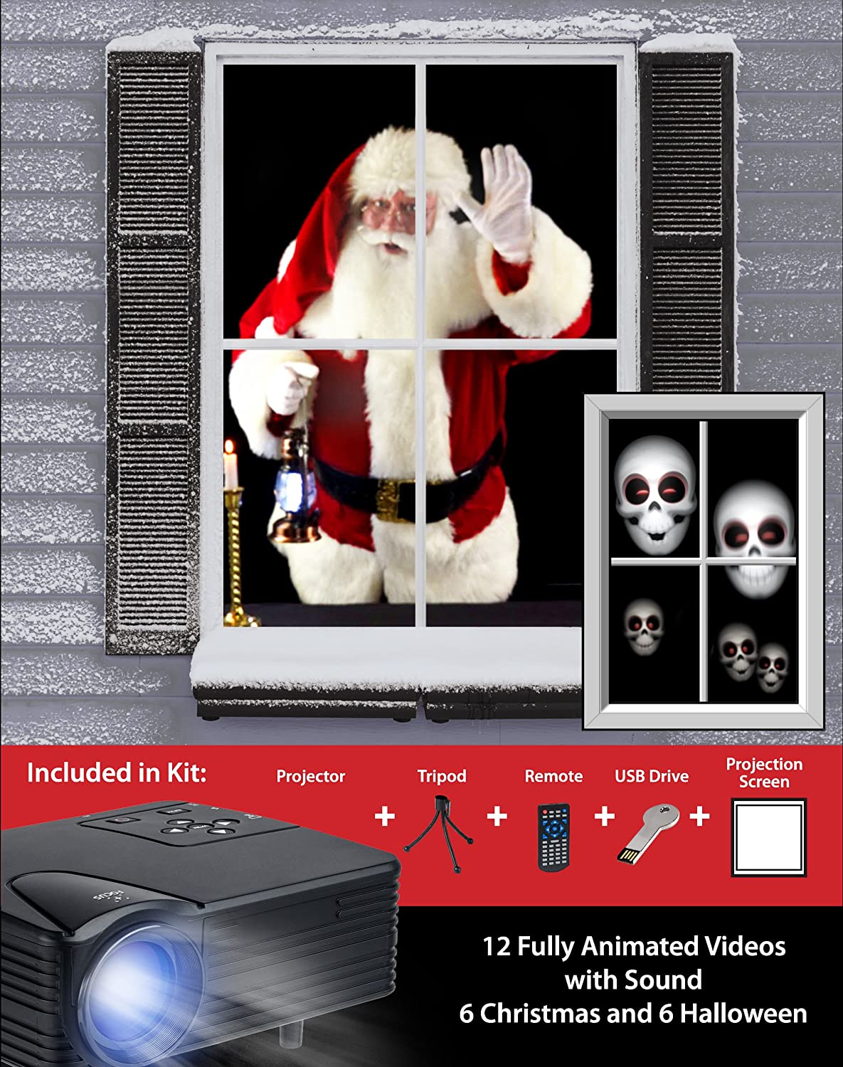 amazoncom mr christmas virtual holiday projector kit black kitchen dining