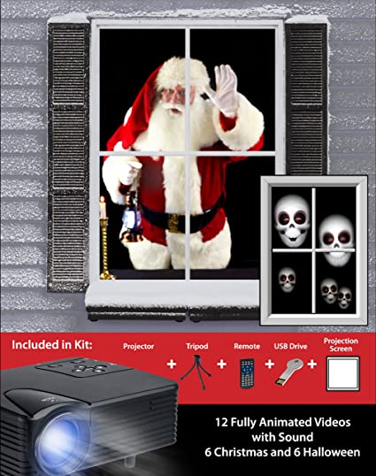 mr christmas virtual holiday projector kit black
