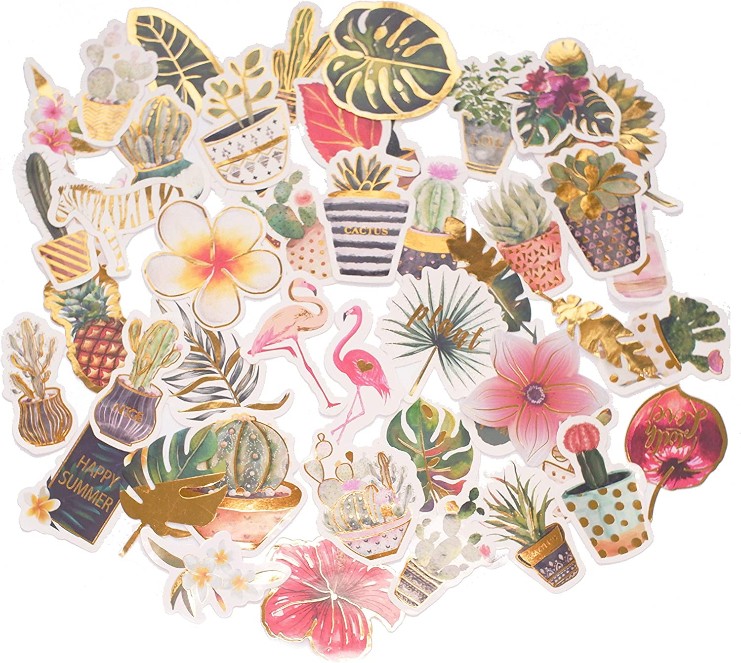 STICON Cute Tropical Rain Forest, Succulent Plants and Cactus, Flamingo Stickers for Laptop, Scrapbook, Kid Craft (48 Pieces)