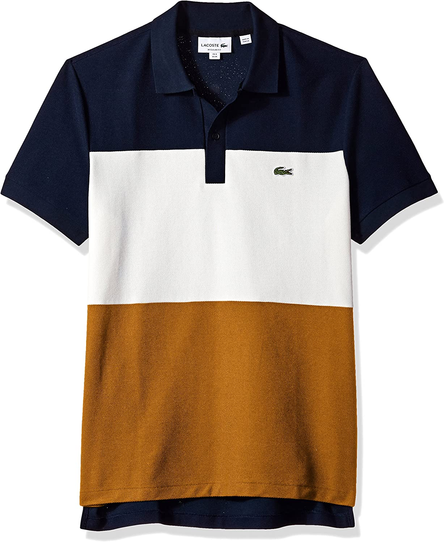 Lacoste Mens Short Sleeve Noppe Pique Striped Color Block Polo