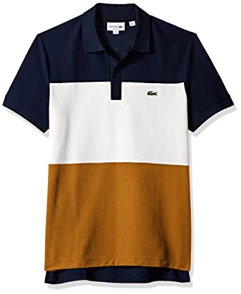e5413e7bfea193 Lacoste Men's Short Sleeve Noppe Pique Striped Color Block Polo, Navy Blue /Flour/