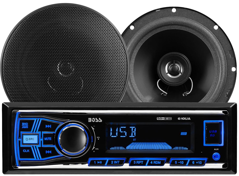 BOSS AUDIO 636CK Audiopaket mit 610UA Single-DIN AM USB FM SD Player Autoradio 200 Watt und ein Paar CK65 6.5 Zoll 2-Wege-Full-Range Lautsprecher 250 Watt MP3