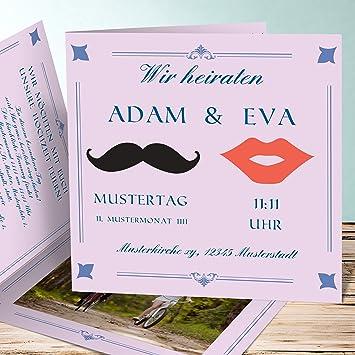 Aussergewohnliche Hochzeitseinladungen Moustache 55 Karten