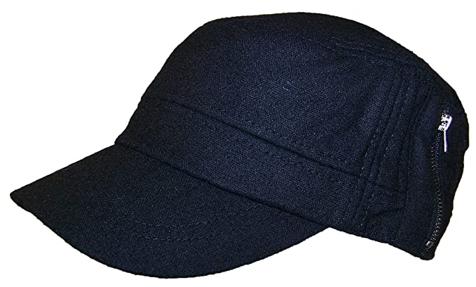 David   Young Mens Elastafit Wool Summer Cadet Hat with Zipper (XL) - Black ab5a0371cc4