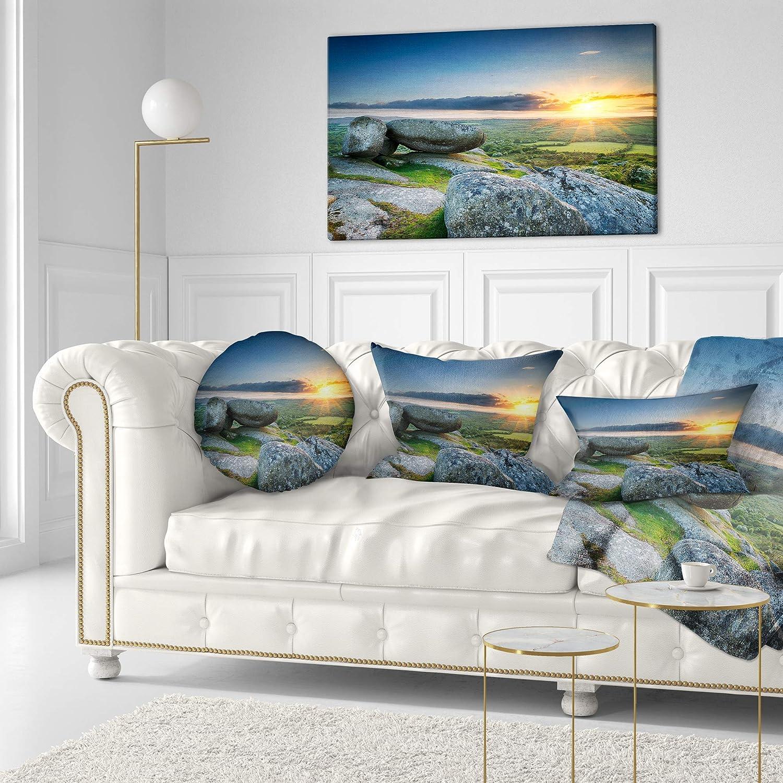 Designart CU13877-16-16-C Sunset at Helman Tor in Cornwall Modern Seashore Round Cushion Cover for Living Room Sofa Throw Pillow 16