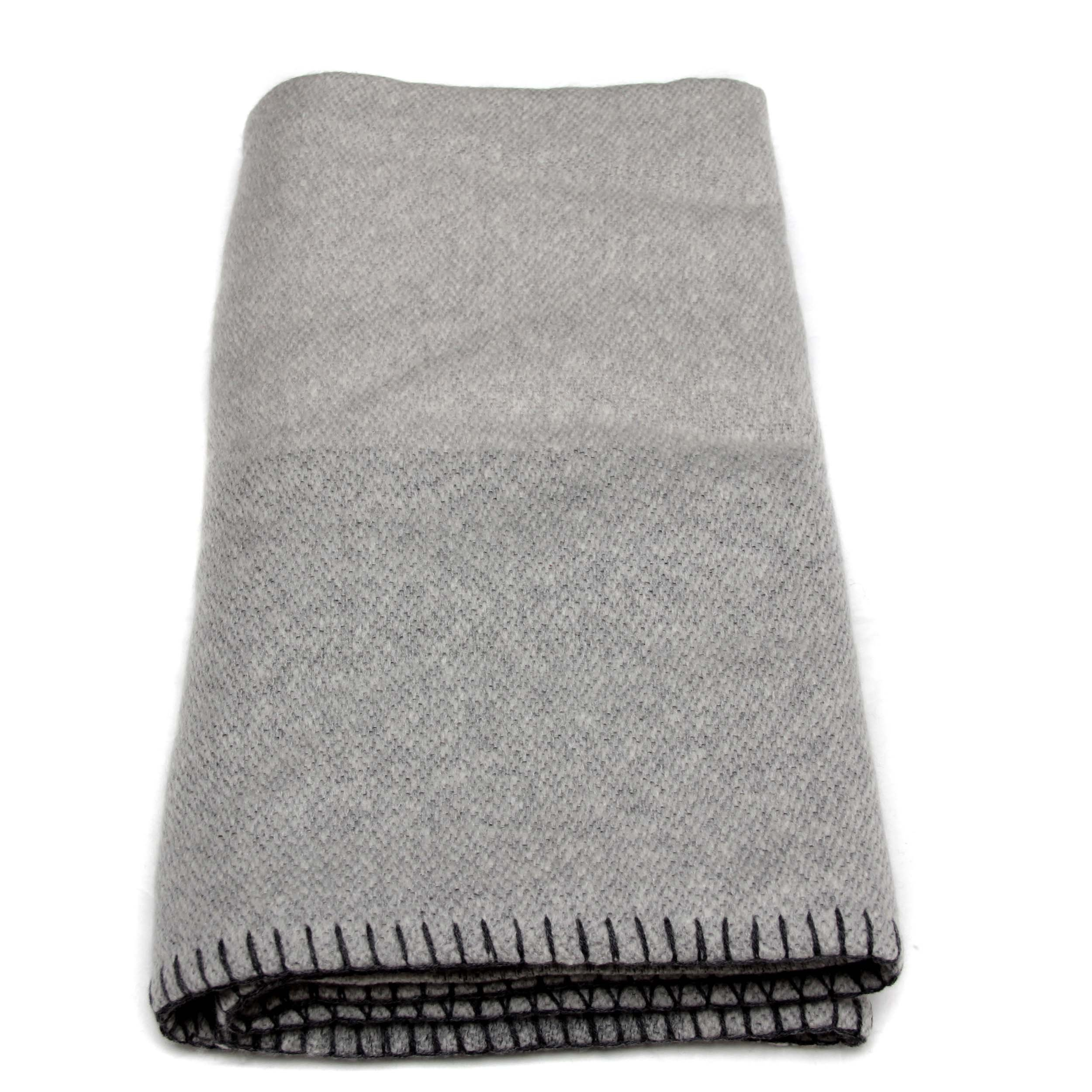 100% Cashmere Blanket 8 PLY Mongolian Cashmere , Thick Cashmere Blanket, Luxury Winter Cashmere Blanket 26/2 + 5.1 (8 PLY)Yarn Composition, Grey with Black Border