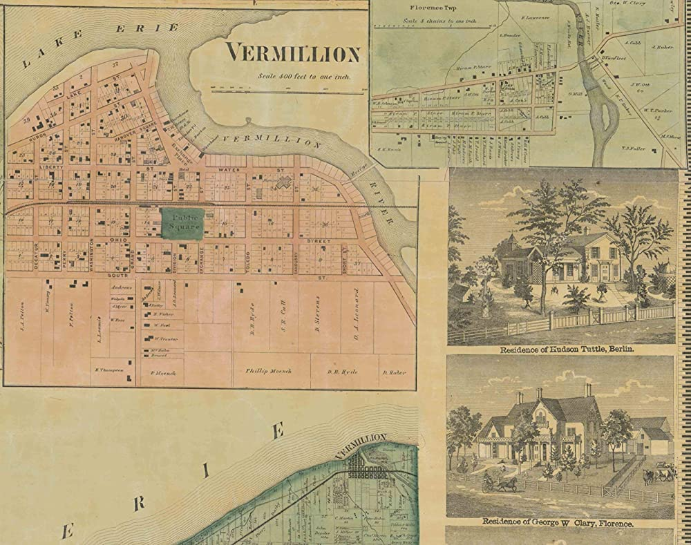 1863 Ohio Township and Coutny Historic Vintage Style Wall Map 24x28