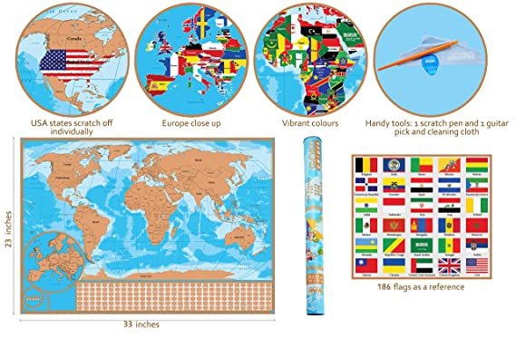 Amazon.com: Scratch Off Map of the World with Flags - Detailed US ...