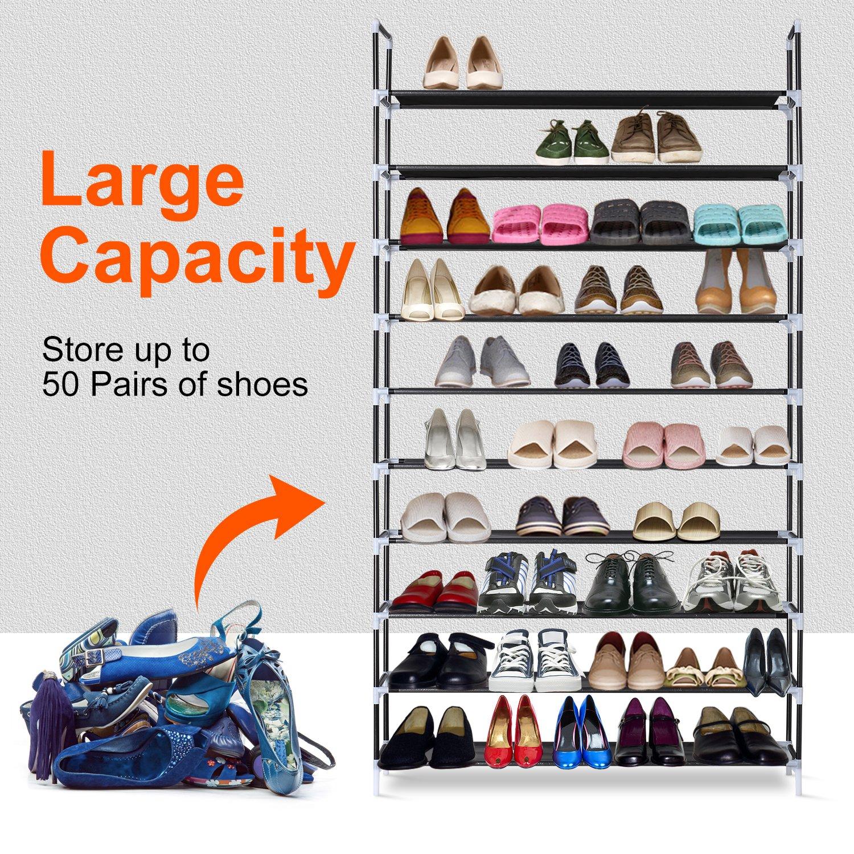 Black HERRON Shoe Rack 10 Tiers Shoe Storage Organizer 50 Pairs Space Saving Shoe Tower Stackable Large Shoe Shelves