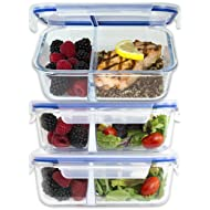 [Large Premium 3 Pack] 2 Compartment Glass Meal Prep Containers w/New Divider Seal Tech Best Quality Snap Locking Lids Airtight 8 Pcs Glass Set BPA-Free (5 Cups, 36 Oz)