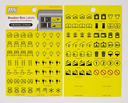 fuse box circuit breaker organiser labels (2 sheets) Electrical Panel Breaker Box Parts
