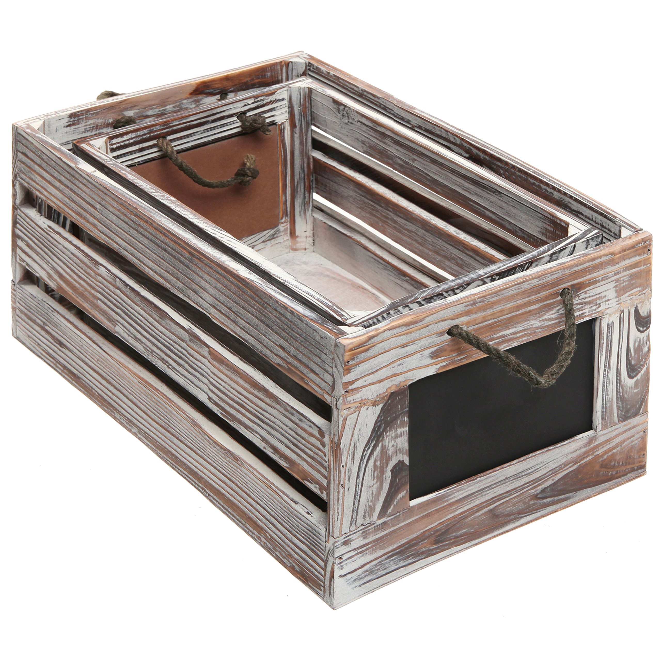 Distressed Torched Wood Finish Nesting Boxes / Rustic Storage Crates with Chalkboard Labels (Set of 2) by MyGift (Image #4)