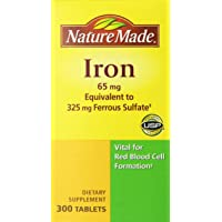 Nature Made Iron 65mg, Equivalent to 325 mg Ferrous Sulfate - 300 Tablets