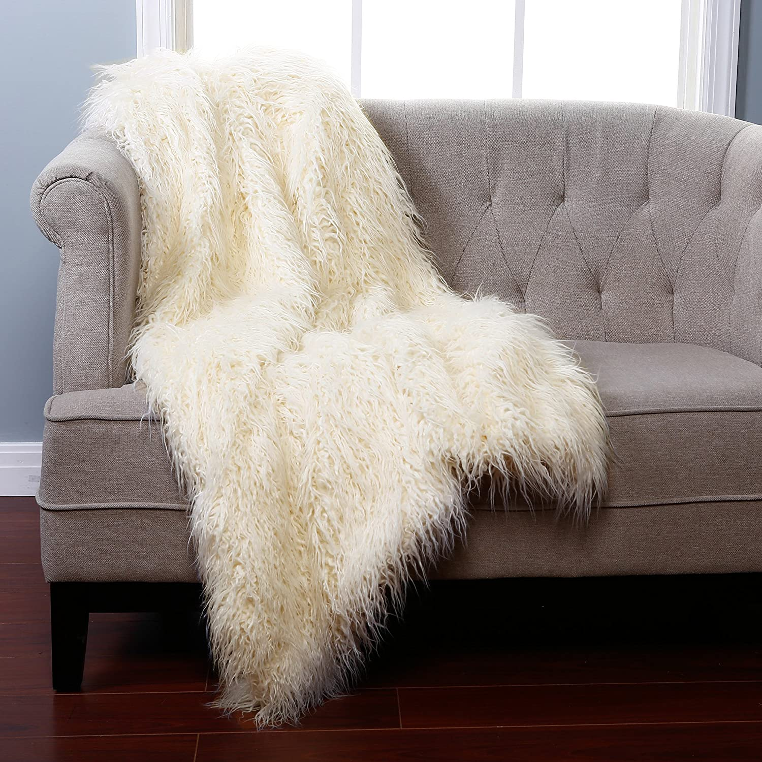 Amazon Best Home Fashion Ivory Mongolian Lamb Faux Fur Throw