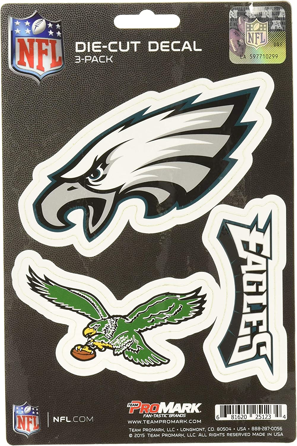 NFL Philadelphia Eagles Team Decal, 3-Pack