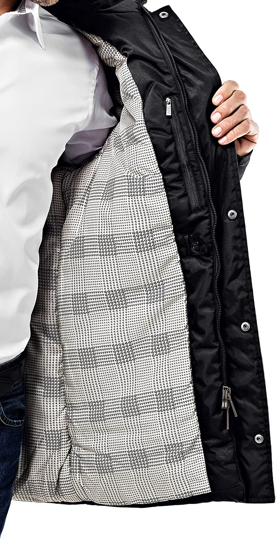Cappuccio e Grandi Tasche con Fodera Morbida Molto Caldo Antivento Vincenzo Boretti Giubbotto-Cappotto Invernale Lungo Uomo Disegno di Parka Elegante Casual