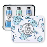 La Chatelaine 20% Shea Butter Hand Cream Travel Size Tin Gift Set (Amber Cashmere, Coconut Milk, Lychee Bilberry)