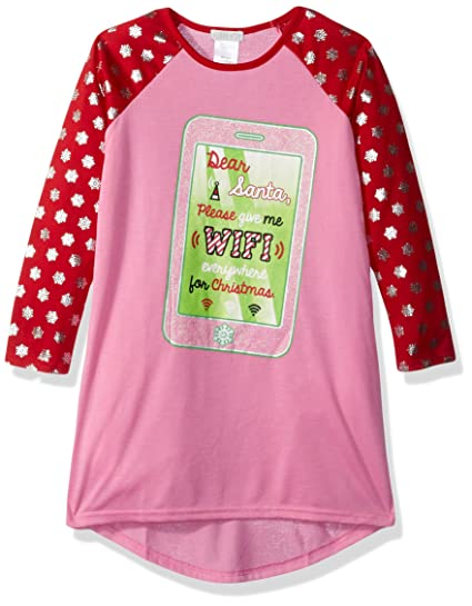 Amazon.com  Komar Kids Girls  Big Holiday Print Jersey Nightgown ... fc9cd1cdf
