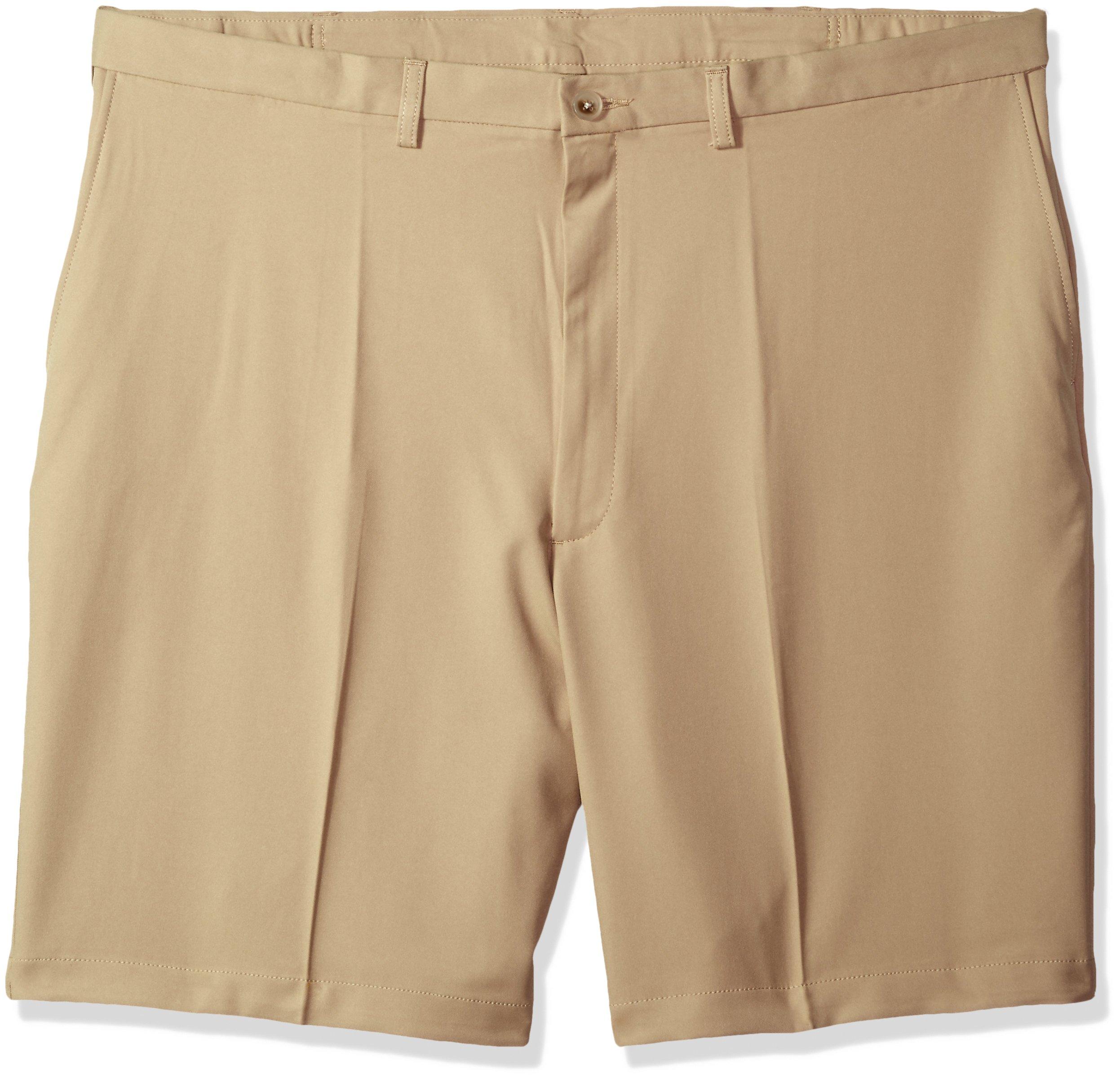 Haggar Men's Big and Tall Cool 18 Pro Classic Fit Stretch Flat Front Short, Khaki, 48