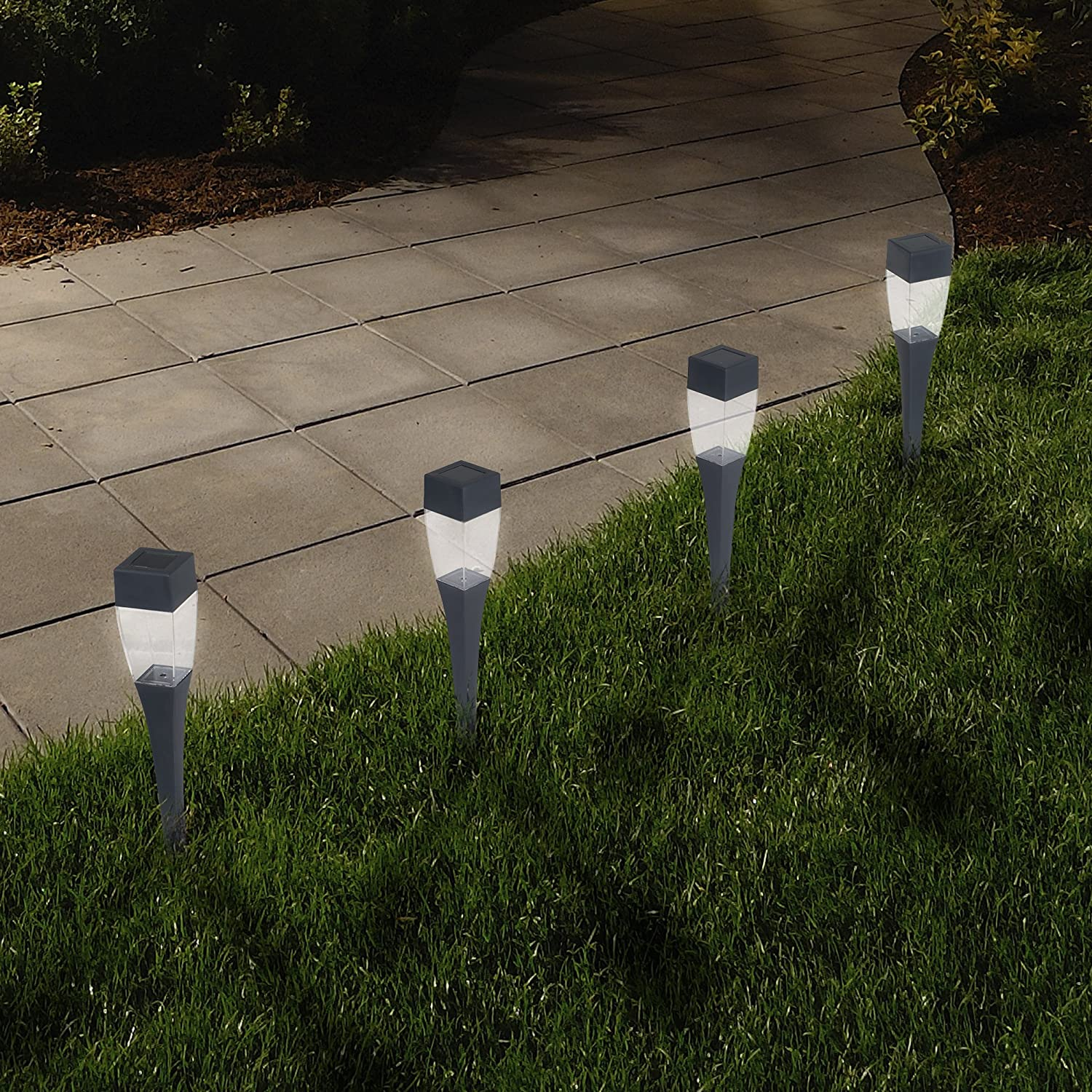 Solar Powered Lights (Set of 24)- LED Outdoor Stake Spotlight Fixture for Gardens, Pathways, and Patios by Pure Garden