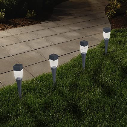 Solar Powered Lights (Set Of 24)  LED Outdoor Stake Spotlight Fixture For  Gardens, Pathways, And Patios By Pure Garden     Amazon.com